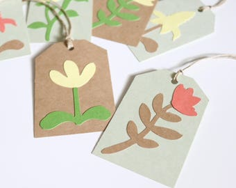 Set of 10 Thank You Gift Tags - Double Sided - Thank You Tags with Florals - Kraft Brown and Green Tags - Woodland Collection