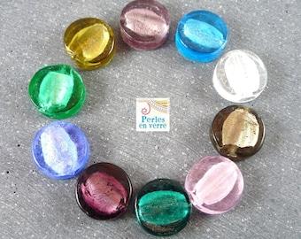 10 pearls multicolored pucks 15x5mm (pv165), Murano style glass