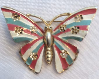 Vintage brooch, enamelled butterfly jewellery. Christmas Gift idea for her