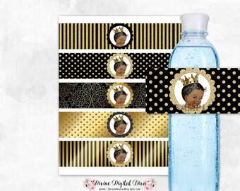 Black & Gold Water Bottle Labels Dots Stripes   African American Little Prince Vintage Baby Boy   Digital Instant Download