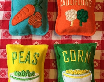 Felt Food Vegetables Bags Packages Set of 4 Bags of Frozen Carrots, Peas, Corn, Broccoli and Cauliflower