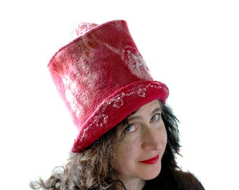 Crazy Salmon Pink Top Hat Mad Hatter Felted Hat Festival Fashion Hat Heart Themed Wearable Art Valentine Hearts Tophat