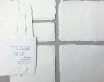 Sample Pack: Various Sizes, Deckle Edge Handmade Cotton Rag Paper // Deckle Edge Paper, Cotton Paper, Invitation Paper, Letterpress Paper
