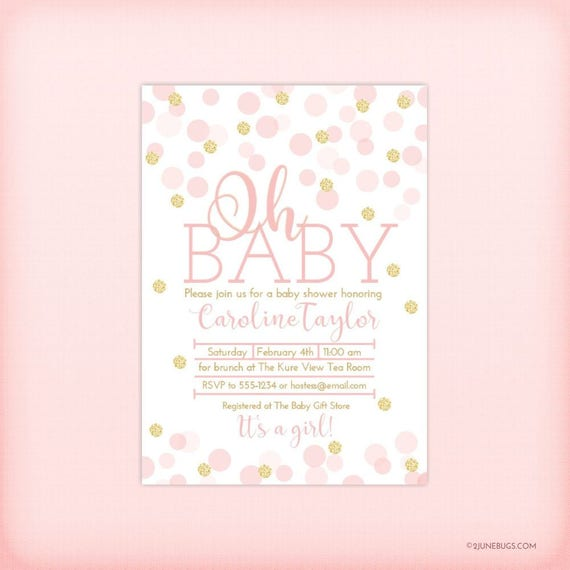 Pink and gold baby shower invitation pink gold glitter dots like this item filmwisefo Choice Image