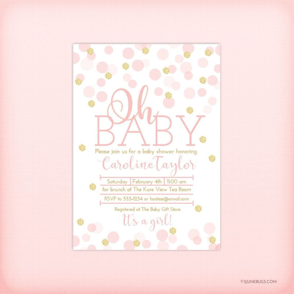 Pink and Gold Baby Shower Invitation Pink Gold Glitter Dots