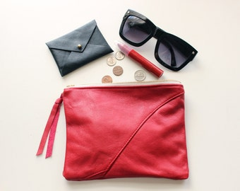 "Repurposed Leather Zipper Pouch / Scarlet Red 8"" Everyday Pouch"