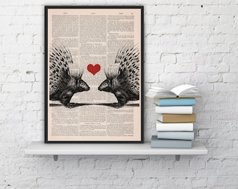 Love Porcupines collage Print on Vintage Book page  Nursery wall art. Porcupine giclee print ANI069