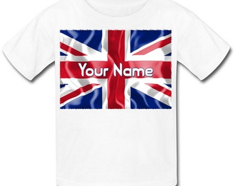 Union Jack Flag Personalised / Named Kids T-Shirt - Great gift for any child