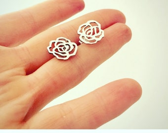 Rose Earrings, Sterling Silver Rose Stud Post Earrings, Silver Rose Stud Post Earrings, Rose Bud Flower Floral Stud Earrings, Rose Post Stud