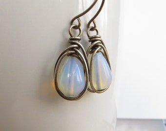 Opalite Earrings, Sterling Silver Earrings, Briolette Earrings, Opal Glass Earrings, Opalite Jewellery, White Earrings, UK Sellers Only
