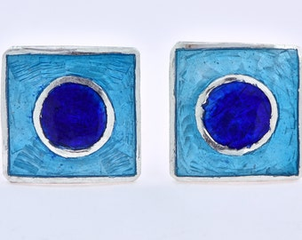 Silver Stud Earring Blue Inlay Jewelry Square Inlay Stud Earrings Sterling Silver Inlay Blue Stud Earring Colorful Inlay Stud Earring Gift