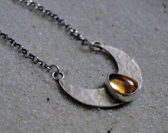 Citrine Crescent Shield, Hammered Moon, Citrine Necklace, Crescent Moon, Sterling Silver, November Birthstone, Gift for Her, Shield Necklace