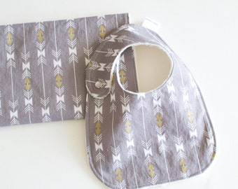 Baby Boy Gift Set Bib and Burp Cloth Sparkle Grey Stripe