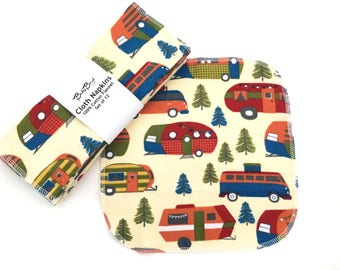 Set of 12 Cloth Napkins // Campers // Cloth Wipes // Baby Wipes // Kids Napkin