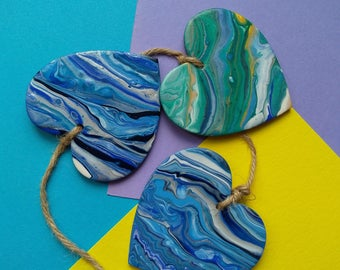 Wooden Wall Hanging Hearts|Home Decor|Wood Decor|Marble effect|Unusual heart gift for Him or Her|Ocean colours|Fluid art hearts|Heart Trio