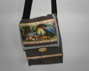 Handmade vintage blanket messengerbag with embroidery