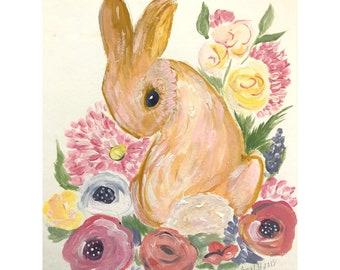 Spring rabbit original painting