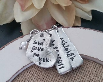 Hand Stamped Jewelry-Personalized necklace-Hand Stamped Pewter Heart Necklace-God gave me you-New Mommy-Mother's Necklace-Adoption