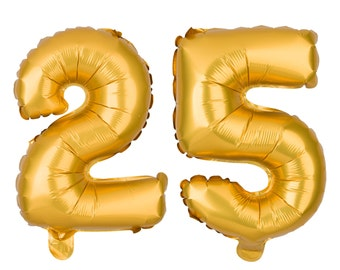 25 Number Balloons, 25th Birthday Party Balloons, 25 Balloon Numbers, 25 Party Supplies, 25th Birthday Decorations, Decor, 13 Inch Gold