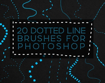 20 Brushes for Photoshop - Dotted Line and Dashed Line - Commercial Use