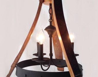 Tonneau de vin de Sancho Mini lustre recyclé douelles de chêne et suspension hoop, plafonnier, 3 feux