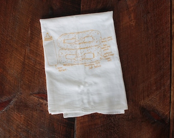 Soft Pretzel Tea Towel, Kitchen Towel, Pretzel Hand Towel, Philly Pretzel Diagram Dish Towel, White Cotton, Hostess Gift Philadelphia