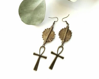 Ankh dangle earrings-  vintage African brass earrings- The Diaspora