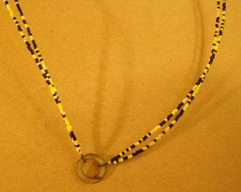 Name-Tag-Glasses-Beaded-Holder-Lanyard-Yellow-Black-with-Coral