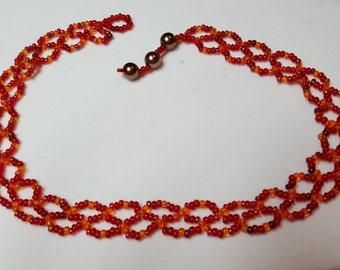 Red and Orange Beaded Choker