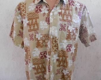 Men's Hawaiian Shirt Khaki Floral Print by Howie Size Large