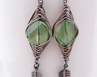Herringbone Wrapped Peridot Swarovski Coins with Antique Copper Leaves