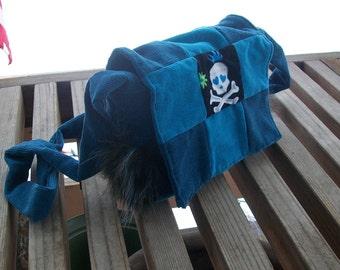 Blues Skulls Faux Fur Recycled Corduroy Crossbody Purse Ready to Ship