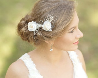 Bridal hair Flower - Wedding Hair pins - Flower Hair pin set - Burlap wedding hair accessories