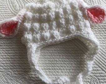 Easter Lamb Hat, Lamb Hat, White and Pink Crochet Little Lamb, Crochet Lamb Hat, Newborn Hat, Baby Girl Hat, Baby Hat, Photo Prop, Easter