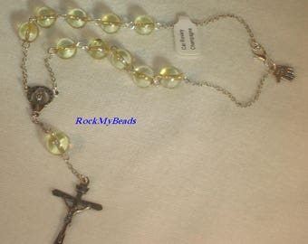 Champagne Car Rosary,Single Decate Car Rosary,Auto Rosary,Rosary,Pocket Rosary,Catholic Rosary,Catholic,Prayer Beads,Travel Rosary,Cross