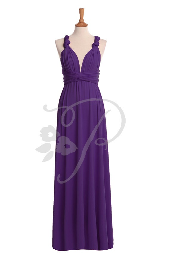 Bridesmaid Dress Royal Purple Maxi Floor Length Infinity