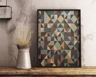 Earth Tones, Scandinavian Art, Modern Art, Minimalist Art, Triangle Art, Geometric Art, Home Decor, Digital Print
