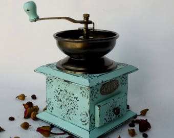 Coffee grinder Shabby Chic blue Manual grinder Shabby Chic Decor  Shabby Turquoise Coffee gift Vintage coffee mill Wooden grinder Old mill