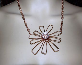 Copper Flower Necklace - Crystal Bead Necklace - Flower Pendant - Copper Pendant - Handcrafted Copper Chain - Copper Necklace - Copper