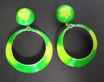 Hoop Earrings Dangle Neon Green Mod Round Clip On Earrings Boho Earrings