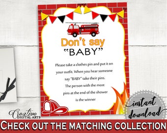 Dont Say Baby Baby Shower Dont Say Baby Fireman Baby Shower Dont Say Baby Red Yellow Baby Shower Fireman Dont Say Baby - LUWX6