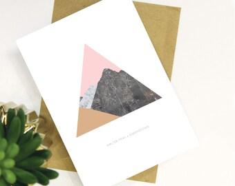 Walter Peak, Queenstown, New Zealand Modern Marble Geometric Mountains Card