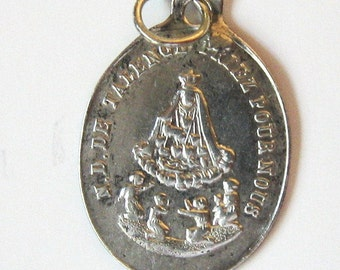 Antique Thin Sterling Silver Tiny Our Lady of Talence 1842  French 1900 Religious Medal Charm Pendant