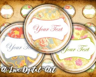 Baroque Flowers digital collage sheet, editable bottle cap images, 1 inch circle
