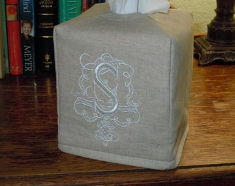 Tissue Box Cover -  Made To Order - Royal Monogram  - S