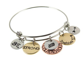 Christian Jewelry -  Joshua 1:9 or Deuteronomy 31 6 - Hand Stamped Be Strong and Courageous - Engraved Bracelet - Expressions Bracelets