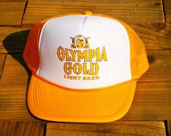 Vintage Olympia Gold Beer Mesh Trucker Hat