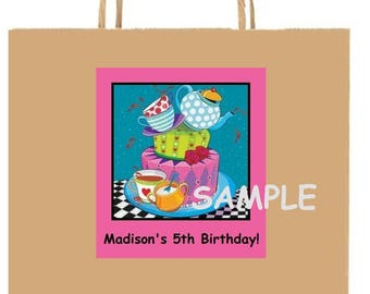 18 Personalized Alice in WonderLanD inspired party stickers,labels,birthday,favors,treat bag labels,tags,supplies,custom made