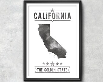 CALIFORNIA State Typography Print, California Wall Art, Typography Poster, California Poster, California Art, California Gift, California