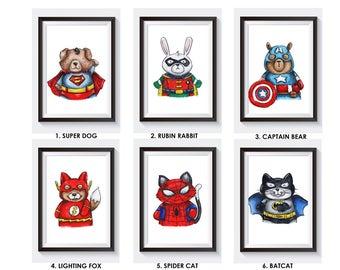 Super Hero Animal A4 prints (set of 3)
